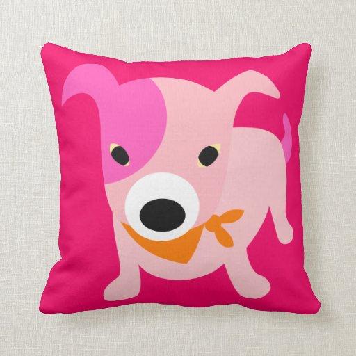 Perrito con el pañuelo rosa y rojo cojín decorativo