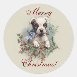 Perrito de Boston Terrier - día de fiesta lindo Pegatina Redonda