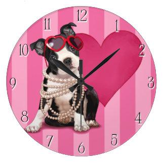 Perrito de Boston Terrier Reloj Redondo Grande