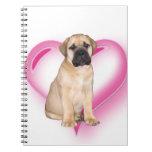 Perrito de Bullmastiff del corazón Libreta