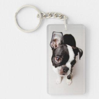 Perrito de Edison Boston Terrier Llavero Rectangular Acrílico A Doble Cara