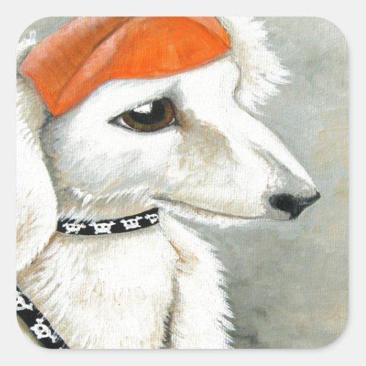 Perrito de Halloween con el gorra de la calabaza Calcomanías Cuadradass Personalizadas