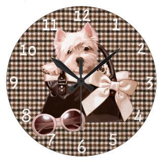 Perrito de Houndstooth Westie Reloj