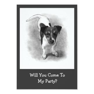 """Perrito de Jack Russell Terrier en lápiz: Perro, Invitación 5"""" X 7"""""""