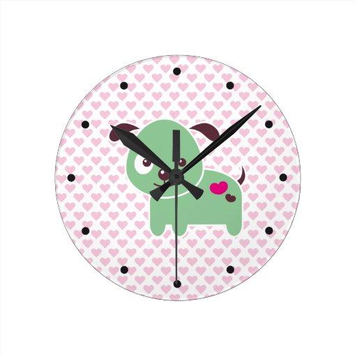 Perrito de Kawaii Reloj Redondo Mediano
