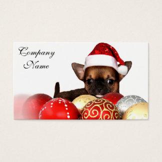 Perrito de la chihuahua del navidad tarjeta de negocios