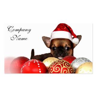 Perrito de la chihuahua del navidad tarjetas de visita
