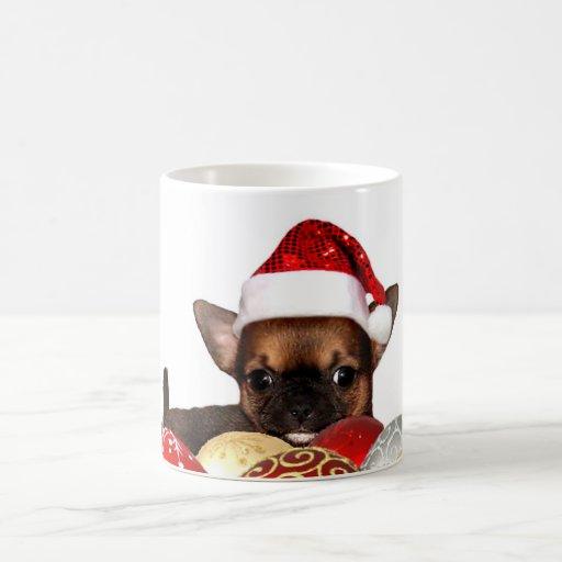 Perrito de la chihuahua del navidad tazas de café