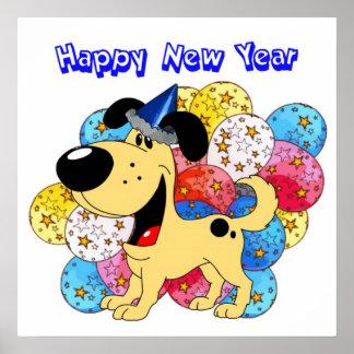 ¡Perrito de la Feliz Año Nuevo Posters