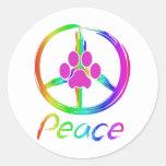Perrito de la paz pegatina redonda