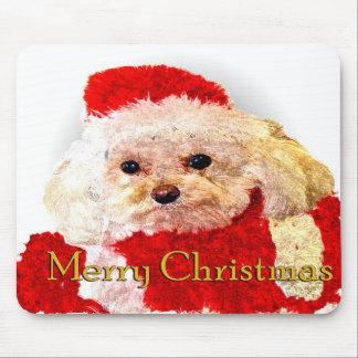 Perrito de las Felices Navidad Tapetes De Ratón