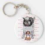 Perrito de lobo enojado - no tema - #2 miedo llavero personalizado