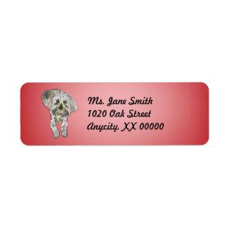 Perrito de Maltipoo en rosa Etiqueta De Remite