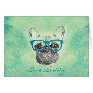 Perrito de moda divertido fresco del dogo francés tarjeta de felicitación