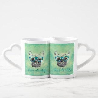 Perrito de moda divertido fresco del dogo francés tazas para enamorados