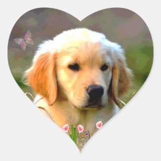 Perrito de oro de Austin Labrador Pegatina En Forma De Corazón
