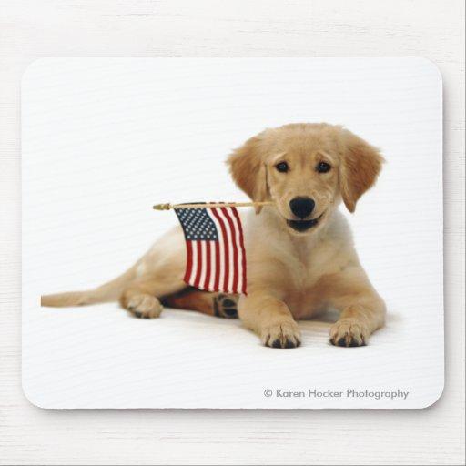 Perrito de oro y bandera americana tapete de ratones