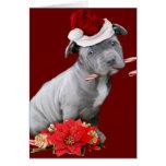 Perrito de Pitbull del navidad Felicitacion