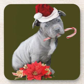 Perrito de Pitbull del navidad Posavasos