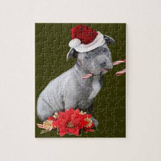 Perrito de Pitbull del navidad Puzzles