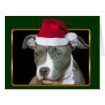 Perrito de Pitbull del navidad Tarjeta De Felicitación Grande