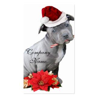 Perrito de Pitbull del navidad Tarjetas De Visita