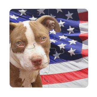 Perrito de Pitbull Terrier del americano Posavasos De Puzzle