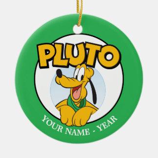 Perrito de Plutón el | con nombre Adorno Navideño Redondo De Cerámica