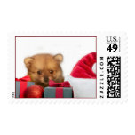 Perrito de Pomeranian del navidad Sello Postal