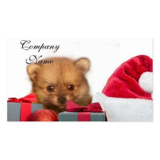 Perrito de Pomeranian del navidad Tarjetas De Visita