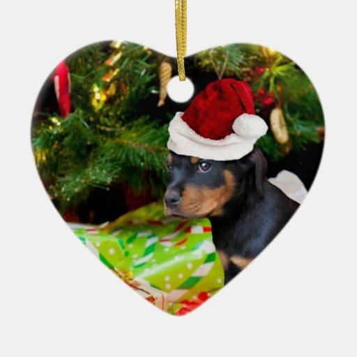 Perrito de Rottweiler del navidad Adorno De Cerámica En Forma De Corazón