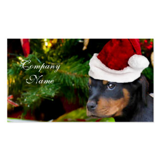 Perrito de Rottweiler del navidad Tarjetas De Visita