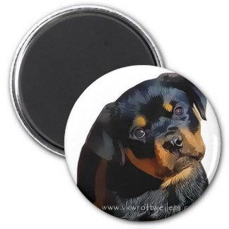 Perrito de Rottweiler Imán Redondo 5 Cm