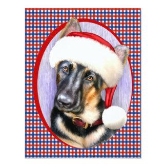 """Perrito de Santa del navidad del pastor alemán Invitación 4.25"""" X 5.5"""""""