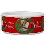 Perrito de Santa vestido en el rojo para el navida Bol Para Perro