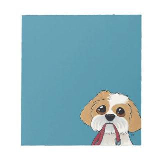 Perrito de Shih Tzu en arte azul del perro Bloc