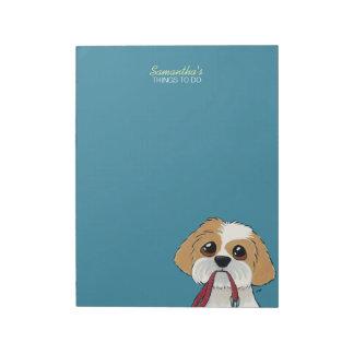 Perrito de Shih Tzu en el azul para hacer la lista Bloc