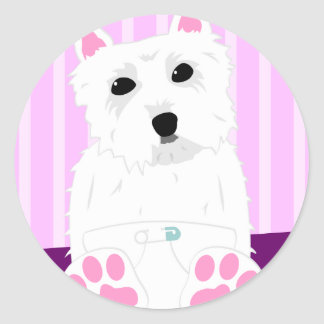 Perrito de Terrier blanco de montaña del oeste Pegatina Redonda
