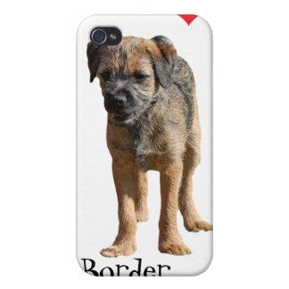 Perrito de Terrier de frontera, amo el caso del ip iPhone 4 Protectores
