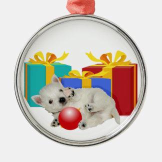 Perrito de Westie con los regalos de Navidad Adorno Navideño Redondo De Metal