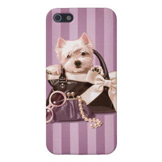 Perrito de Westie en bolso iPhone 5 Funda