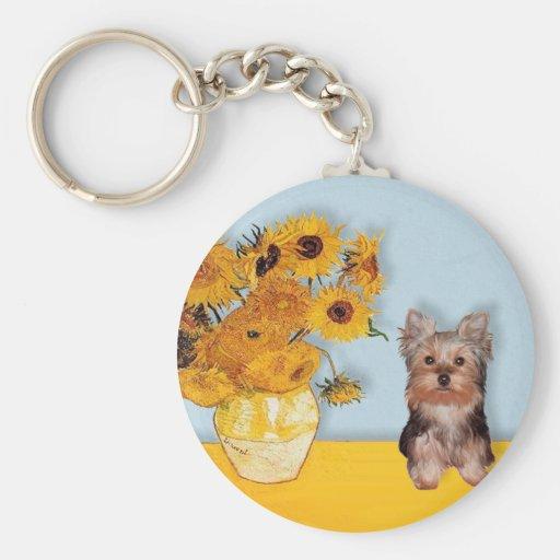 Perrito de Yorkshire Terrier - girasoles Llavero Personalizado