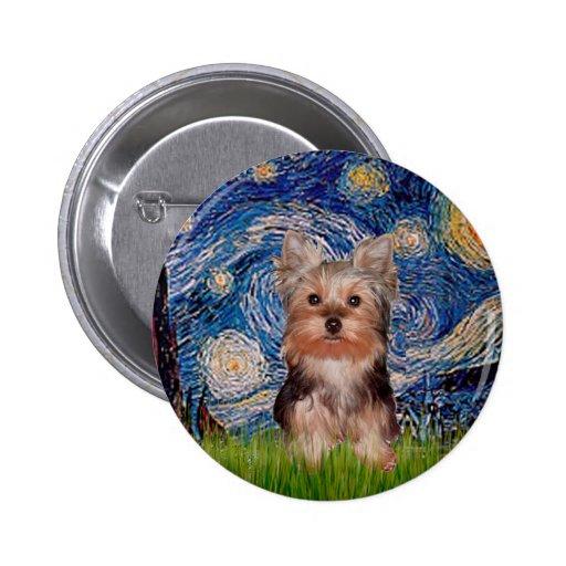Perrito de Yorkshire Terrier - noche estrellada Pin