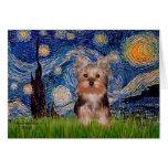 Perrito de Yorkshire Terrier - noche estrellada Felicitacion