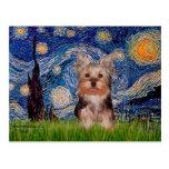 Perrito de Yorkshire Terrier - noche estrellada Tarjeta Postal