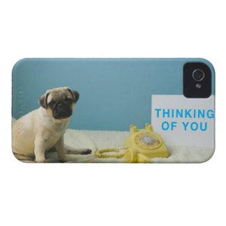 Perrito del barro amasado que se sienta en cama al iPhone 4 protector