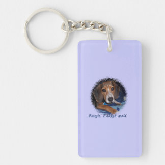 Perrito del beagle con la actitud - color de fondo llavero rectangular acrílico a doble cara