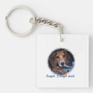 Perrito del beagle con la actitud - fondo de llavero cuadrado acrílico a doble cara