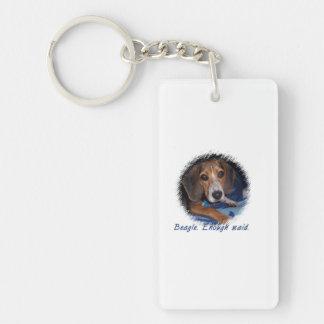 Perrito del beagle con la actitud - fondo de llavero rectangular acrílico a doble cara