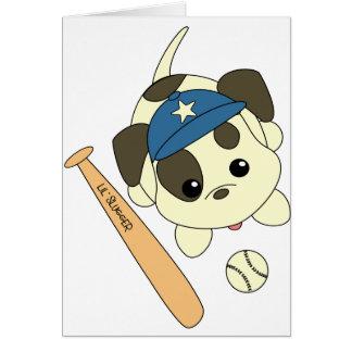 Perrito del béisbol tarjeta de felicitación
